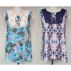 Set of 2 Multi Color Sleeveless Tops